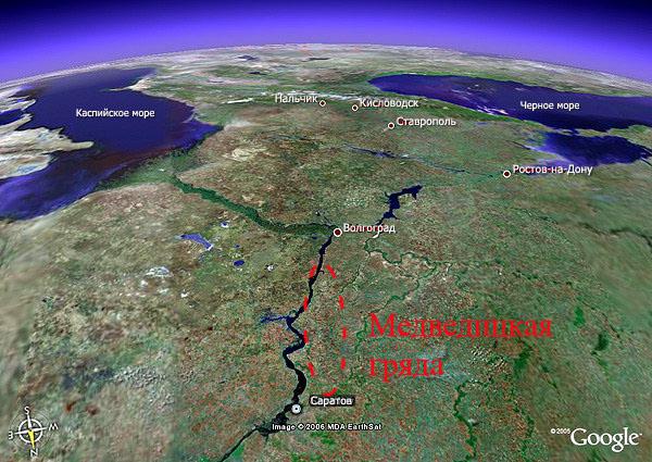 Медведицкая гряда тянется от Саратова до Волгограда. Её ... мамаев курган на карте волгограда