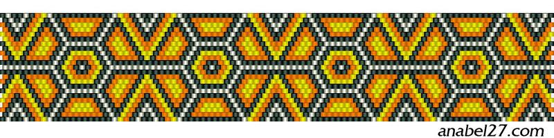 Узоры в кирпичном плетении из бисера