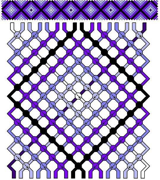 Плетение фенечек с ромбиками